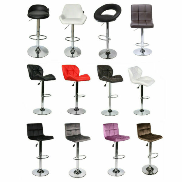 Set of 2 Bar Stools Counter Top Adjustable Swivel PU Leather Pub Dinning Chairs