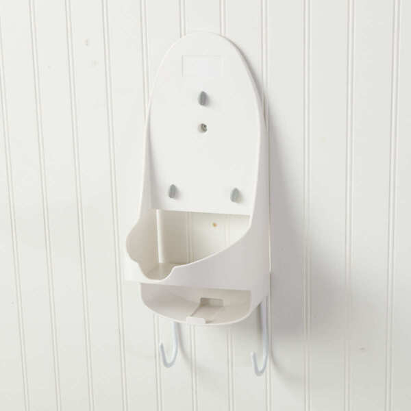 Wall Mount Bracket Steam Iron Holder with Slot for T-Leg Ironing Board - White