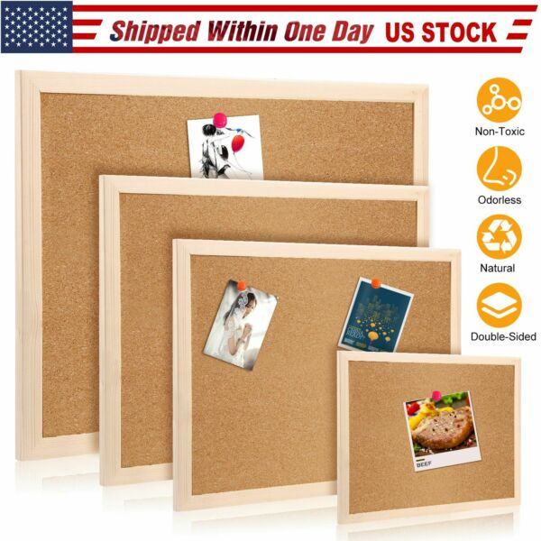 Cork Notice Message Board Wood Frame Office Memo School Home Pinboard US SHIP