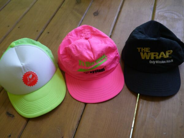 Vintage Lot of 3 Hats The Wrap Winston Cigs Nascar Texaco Gas and Busch Beer