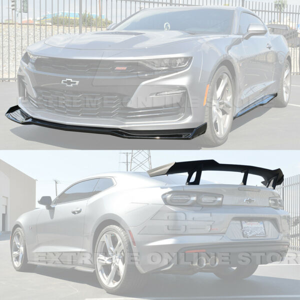 ZL1 1LE Style Front Splitter Side Skirts & Rear Spoiler For 19-Up Camaro SS RS