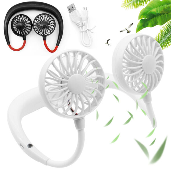 Portable USB Rechargeable Neckband Lazy Neck Hanging Style Dual Cooling Mini Fan