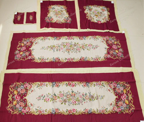Stunning Elegant Burgandy Beige Floral Sofa Chair Cover Sets Royal Palace Decor