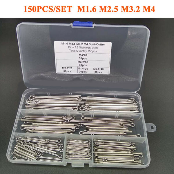 150pcsSet M1.6 M2.5 M3.2 M4 Stainless Steel Cotter Pin Combination Kits W Box