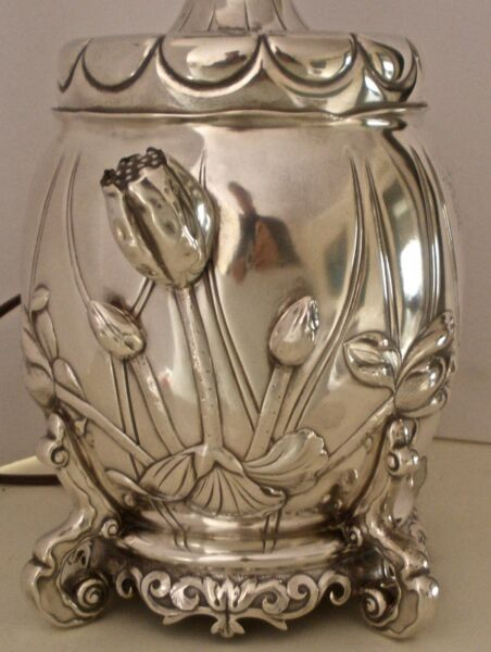 AMAZING GORHAM STERLING AESTHETIC MOVEMENT FIGURAL WATER LILY OIL LAMP 1882
