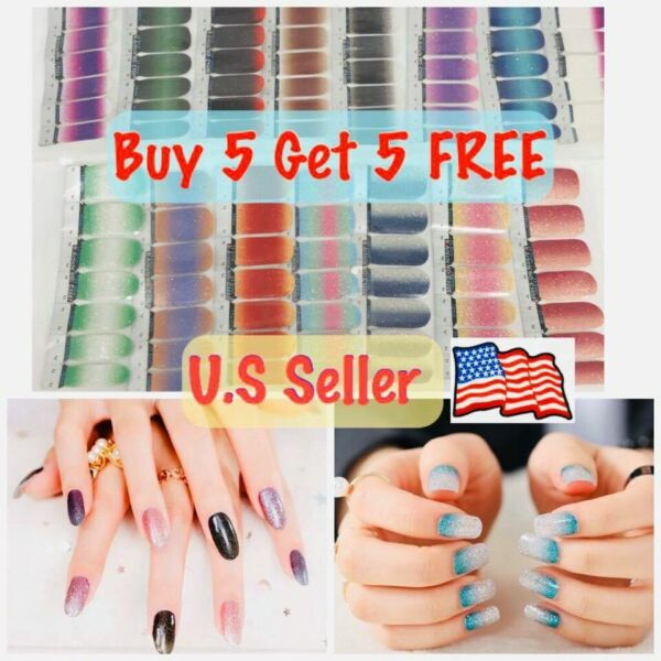 Color Nail Polish Real Strips U.S Seller Buy 5 Get 5 FREE Ombre Glitters