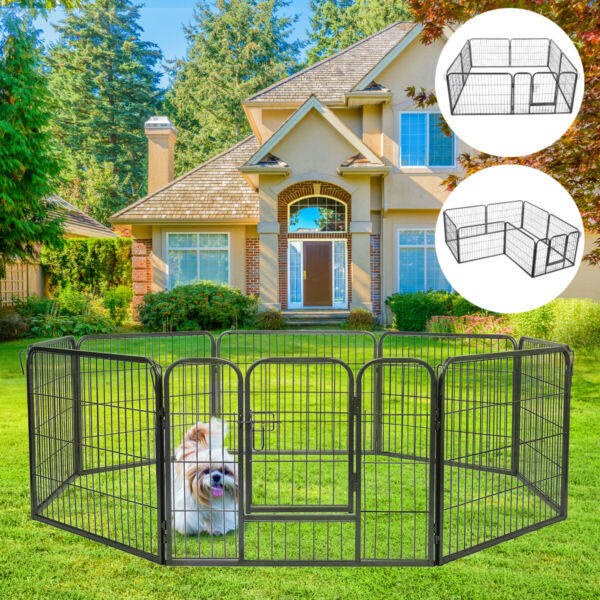 8 Panel Playpen Heavy Duty Exercise Dog Pet Fence Folding Metal Kennel Hammigrid