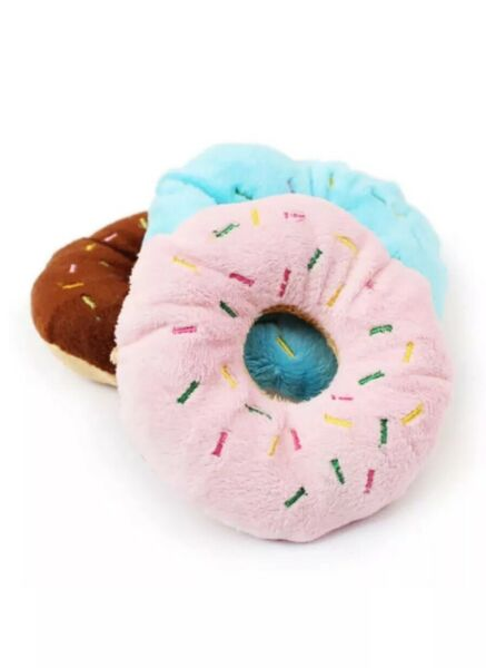 Donut Squeaky Pet Dog Puppy Cat Squeaker Quack Sound Toy Chew Donut Play Toys