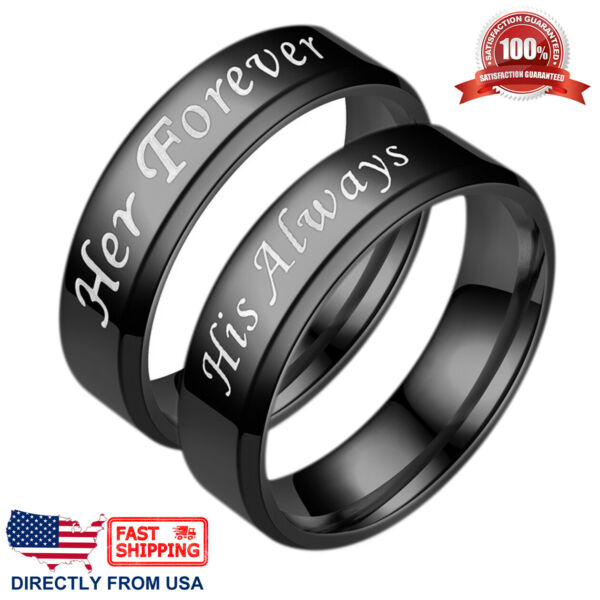 Couple#x27;s Matching Promise Ring His Always or Her Forever Men Women Wedding Band