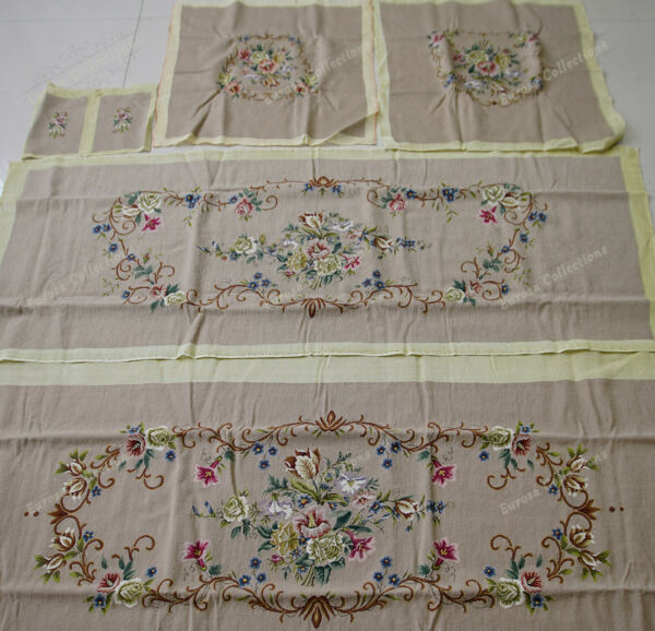 Shabby Chic Flower Bouquet VTG Swirls Rococo Salon Style Chair Sofa Cover Sets