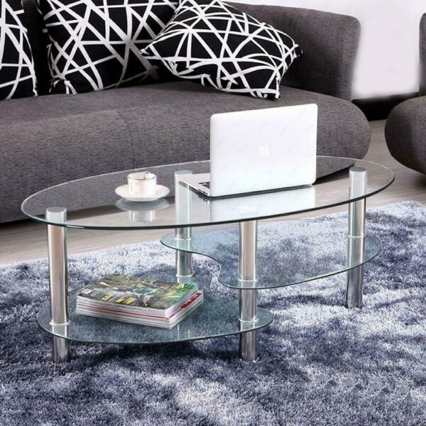 Tempered Glass Oval Side Coffee Table Shelf Chrome Living Room Decor Clear