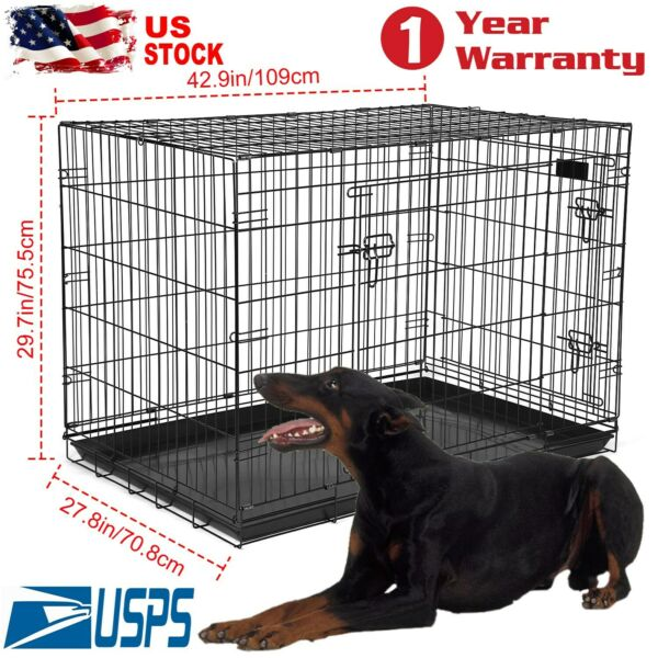 Large Size Dog Cages Crate Kennel 48quot; 42quot; 36quot; 30quot; 24quot; Folding Pet Cage Metal $95.29