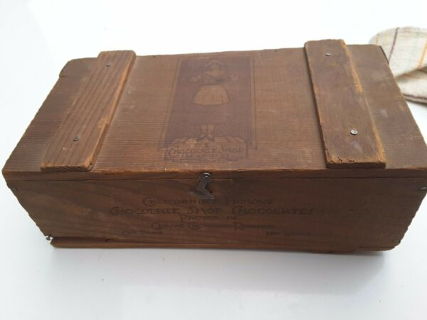 Vintage California Chocolate Shop Redwood Box Los Angeles Decor Collectible Old $50.00