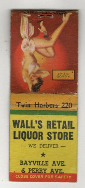 Sexy Woman Wall's Liquor Store Vintage Matchbook Cover B22