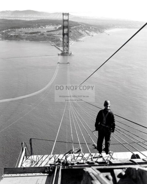 WORKER ON CABLES DURING CONSTRUCTION OF GOLDEN GATE BRIDGE - 8X10 PHOTO (WW214)