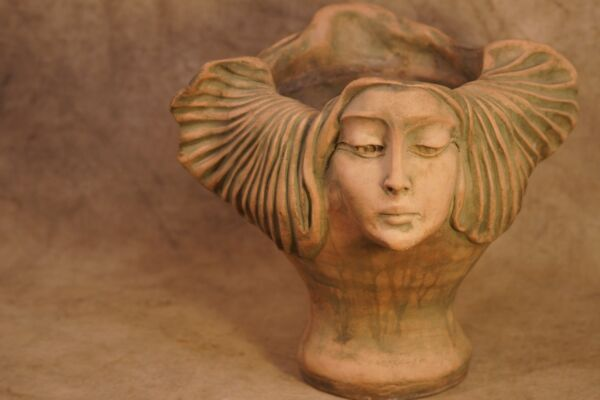 Antique 1890-1910 French Art Nouveau Terracotta Head VasePlanter (Provenance)