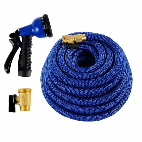 Deluxe 25 50 100 FT Expandable Flexible Garden 8 Pattern Water Hose Spray Nozzle