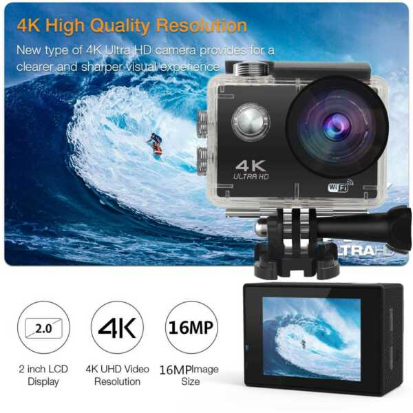 Pro 4K Action Camera WiFi Camcorder Ultra HD Camera Waterproof Accessory Bundle