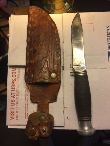 VINTAGE 1960s CASE FIXED BLADE KNIFE With Leather Sheath