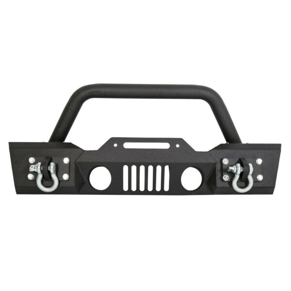 Stubby Front Bumper Winch Plate wFog Light Housing For 07-18 Jeep Wrangler JK