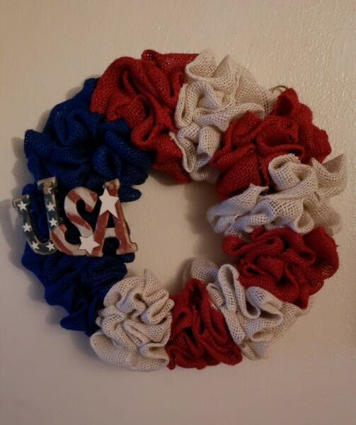 14.5quot; Handmade Multi Colored Burlap Patriotic Fourth of July Wreath