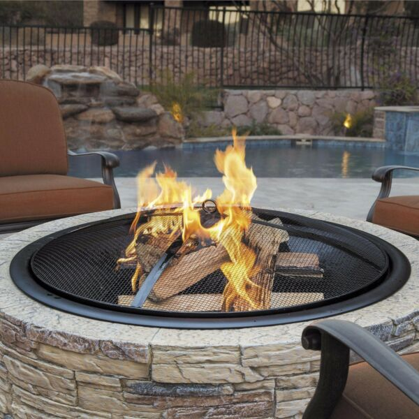 Outdoor Fire Pit Wood Burning Fireplace Backyard Patio Durable Stone Fini