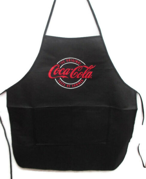 Coca Cola Black Non Woven Apron with Pockets Taste of Summer Logo on Front
