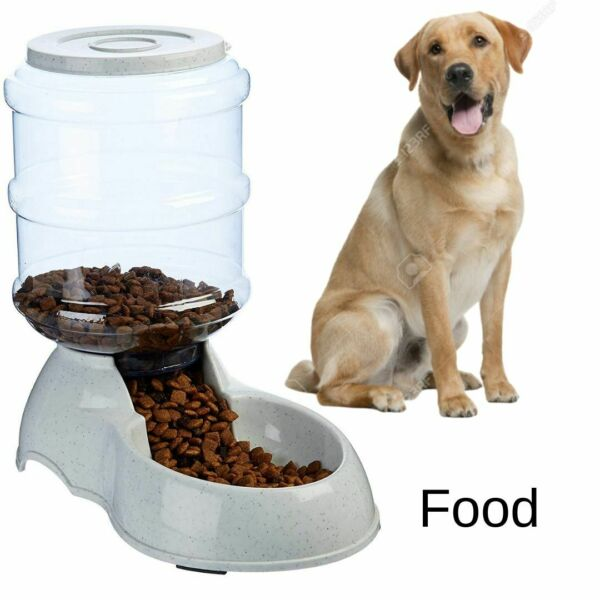 Small Dog Food Dispenser Storage Container Pet Cat Gravity Bowl Feeder Automatic