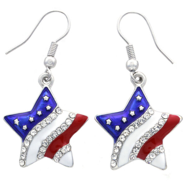 New Stars and Stripes USA American Flag 4th of July Independence Day Earrings