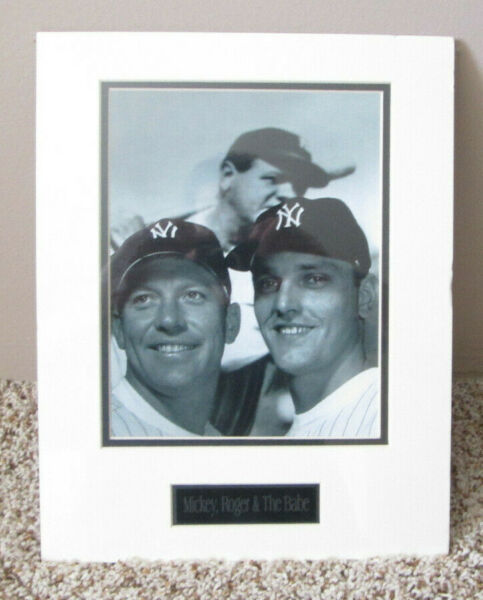 RARE MATTED PHOTO OF MICKEY MANTLE ROGER MARIS & BABE RUTH NEW YORK YANKEES