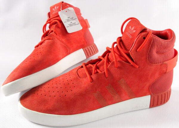 ADIDAS ORIGINALS Tubular Invader Red suede shoes- 12- NEW-retro basketball- $120