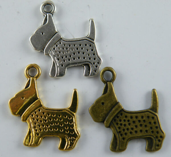 60 Double Dog Silver Gold Color Charms 20x22.5x2mm 17098 $8.99