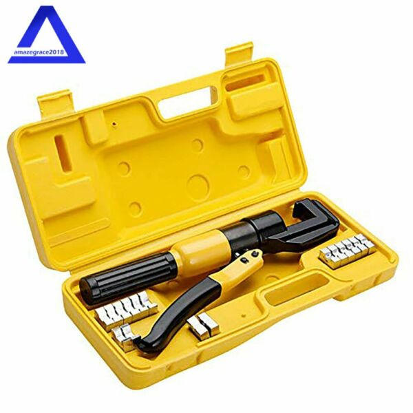 Hydraulic Crimper Crimping Toolw 9 Dies Wire Battery Cable Lug Terminal 10 Ton