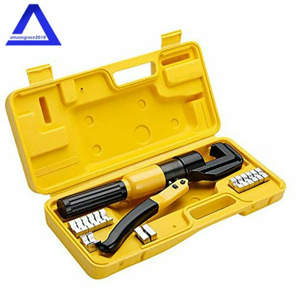 Hydraulic Crimper Crimping Tool w 8 Dies Wire Battery Cable Lug Terminal 10 Ton $39.99