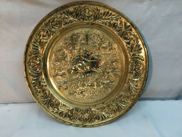 vtg Brass Stove pipe cover plate fire place hearth Fox Hunt Horse and Rider 14.5