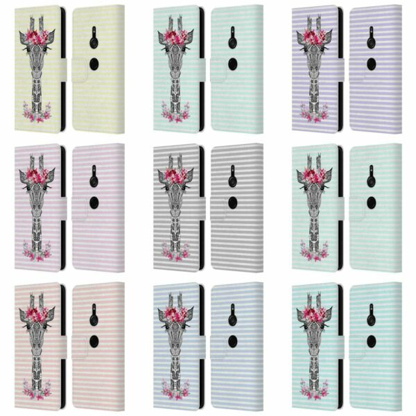 MONIKA STRIGEL FLOWER GIRAFFE AND STRIPES LEATHER BOOK CASE FOR SONY PHONES 1