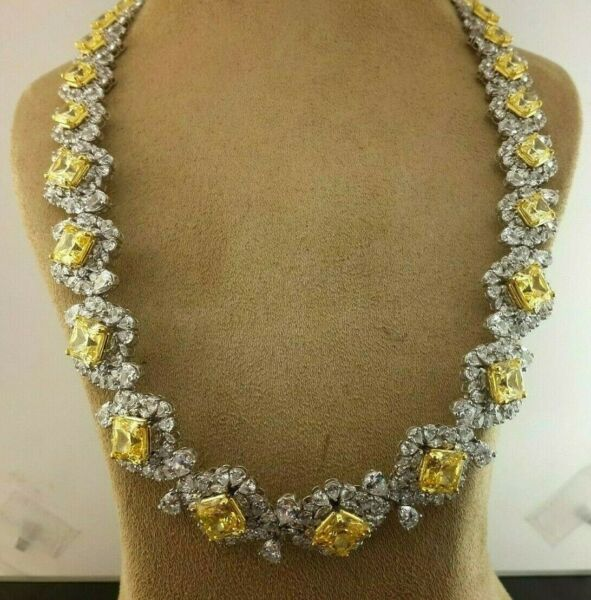 925 Sterling Silver yellow radiant white pear flower matinee Tennis Necklace Alc
