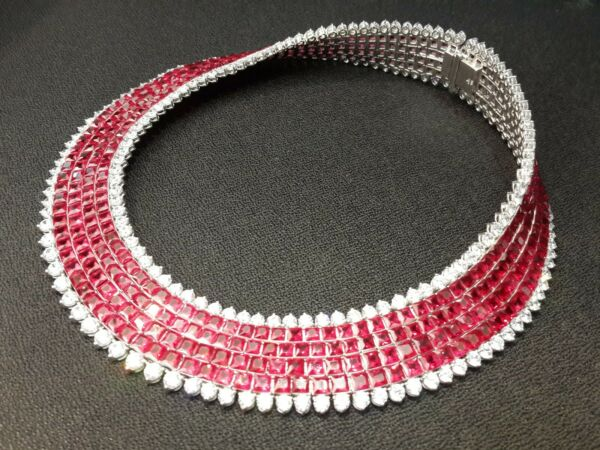 925 Sterling Silver cz Necklace red Princess invisible Round White party Royale