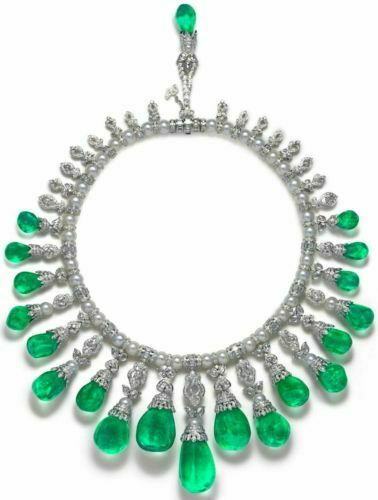 925 Sterling Silver cz Necklace Shell pearl green pear cocktail statement Royal