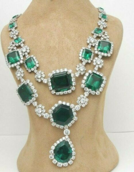 925 Sterling Silver cz Necklace Green Emerald White round pear drop double Royal