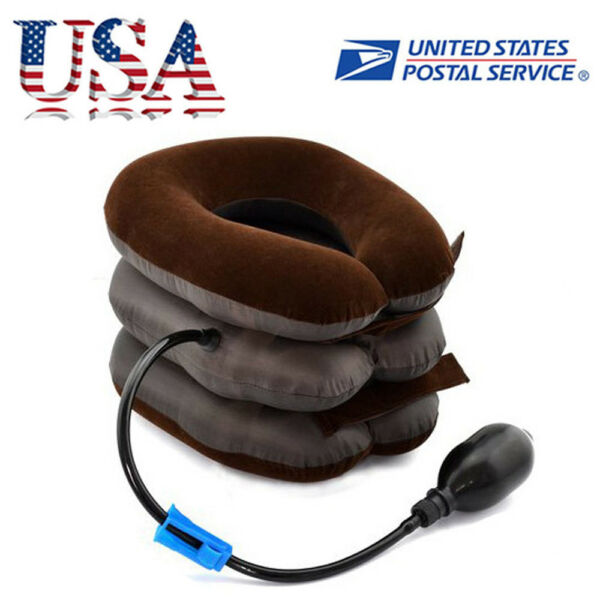 *USA* Air Inflatable Pillow Cervical Neck Headache Pain Traction Support Brace +