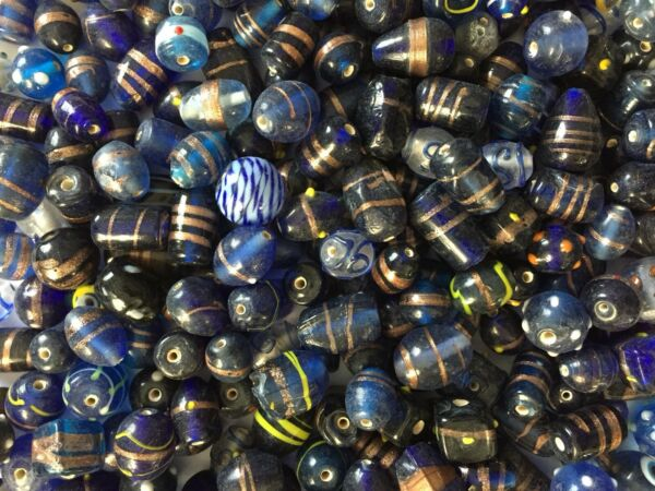 1 Kilo Blue Fancy Mixed India Lampwork Glass Beads Bulk Loose Bead Lot 2 lbs $24.99