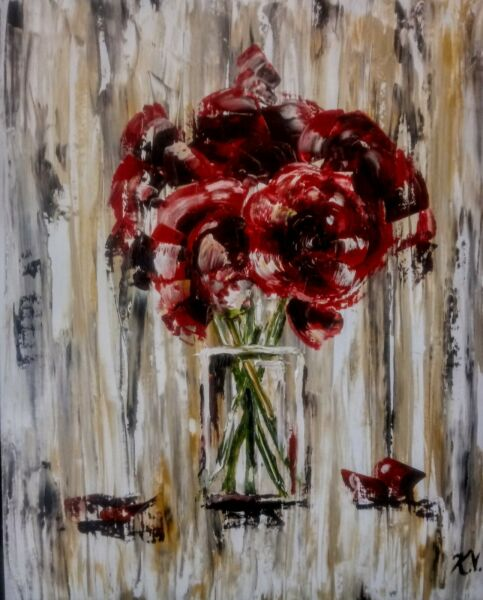Fine Art Oil Painting Modern Contemporary Red Flowers Palette Knife Still Life