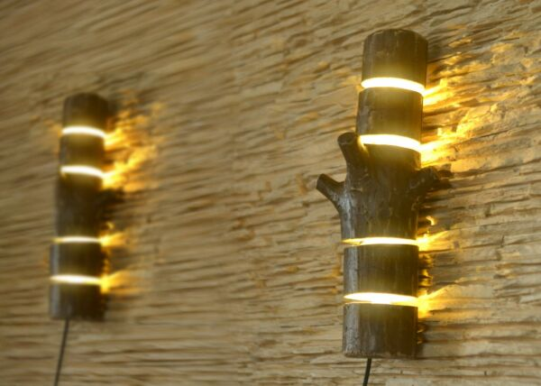 Wooden sconces wall light from natural logs rustic lamp wall light fixtures