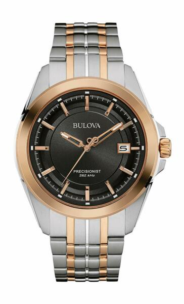 Bulova 98B268 Precisionist Two Tone Black Dial Mens Ultra High Frequency Watch