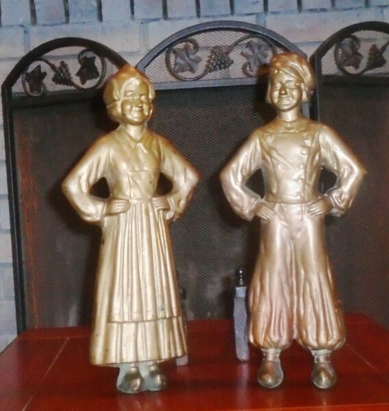 Antique Sheffield Dutch Boy & Girl Bronze & Cast Iron Pair Andirons Fireplace