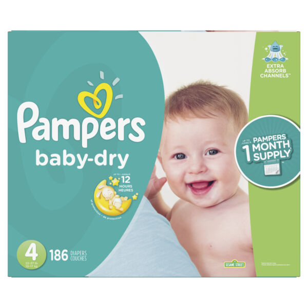 Pampers 80320411 Baby Dry Disposable Baby Diapers Size 4 186 Count $61.00