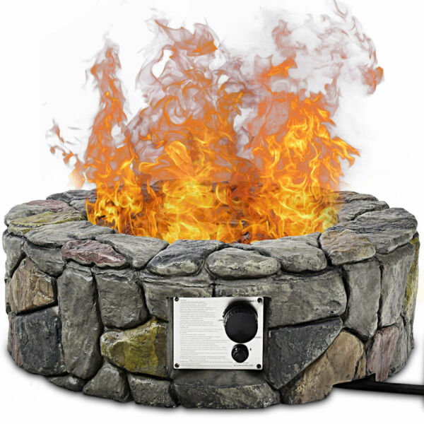 28#x27;#x27; Propane Gas Fire Pit Outdoor 40000 BTUs Stone Finish Lava Rocks Cover