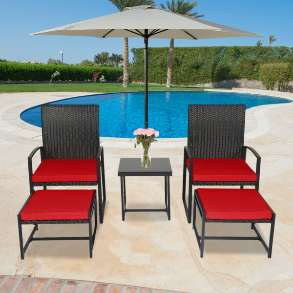 5 PCS Patio Wicker Chair Set W Table Red Cushion Ottoman Outdoor Furniture Yard $183.99