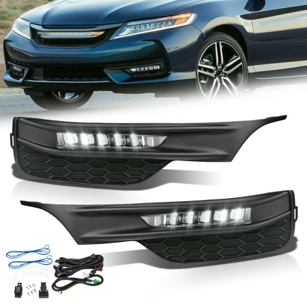 Fits 16-17 Honda Accord Sedan 4Dr LED Fog Lights Kit With Bezel Switch Wires